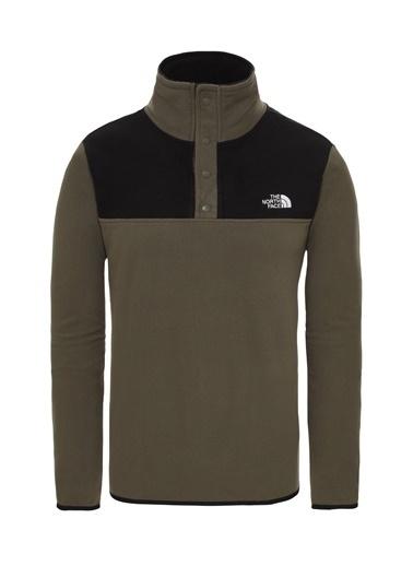 The North Face Tka Glacier Snap Neck Pullover Erkek Sweatshirt Siyah Yeşil